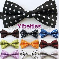 Yibei Coachella Ties Microfiber Polka Dots Spots Adjustable Men's Bowties Adults Tuxedo Bow tie Unisex butterflys Pre-Tied