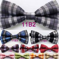 Yibei Coachella Ties Microfiber Fashion Checkers Grids Adjustable Men's Bowtie Adults Tuxedo Bow tie Unisex butterflys Pre-Tied