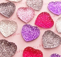 Free Shipping! 100pcs Colorful Acrylic Bling Heart Cabochons Flatback 15mm