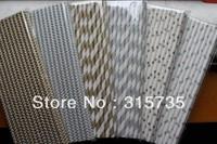 300pcs Gold/Silver paper straws Mixed Striped & Stars & Chevron patterns Wholesale & Retial,Drop shipping