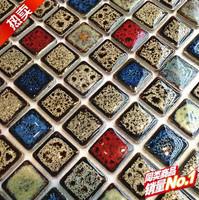 Kitchen backsplash mosaic tile glazed finish beige blue red bath wall floor swimming pool tiles cheap square chips mesh tiles