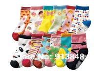FreeShipping,5 pair/lot,100% cotton children socks rubber slip-resistant floor socks cartoon small kid's socks