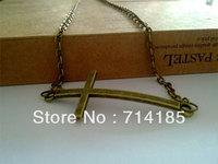 """Vintage Bronze Tone Sideway Cross Jewelry Charm Necklace 20"""""""