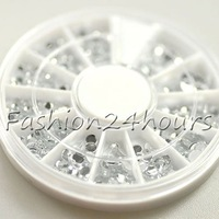 New Wheel 2mm 3mm 4mm Nail Clear Rhinestone Decoration For UV Gel Iphone and laptop DIY