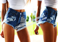 Brand new design colorful Fashion rivet blue high waist denim shorts bo75  SPIKED STUDDED FESTIVAL HIGH WAISTED SHORTS VINTAGE