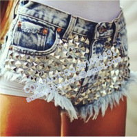 Brand new design colorful Fashion full rivet high waist denim shorts bo57  SPIKED STUDDED FESTIVAL HIGH WAISTED SHORTS VINTAGE