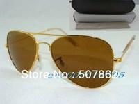 Fashion beach sunglasses Gold Frame Brown Lens Unisex sunglasses woman sun glasses come black leather box
