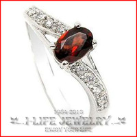 Fashion Jewelry 925 Silver Womens Stylish And Elegant Natural Garnet Red Crystal His And Her Wedding Rings with Ruby Gems