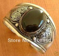 new arrive beautiful Tibet silver black jade bracelet fashion jewelry #014