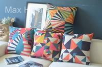 "Free Shipping 4 pcs/lot 18"" Illusion Geometric Pattern Retro Vintage Linen Decorative Pillow Case Pillow Cover Cushion Cover Set"