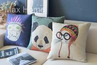 "Free Shipping 3 pcs/lot 18"" Owl Panda Cat Retro Vintage Style Linen Decorative Pillow Case Pillow Cover Cushion Cover Set"