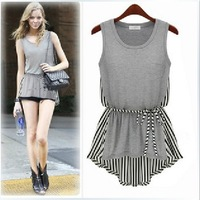 Fashion clothes women 2014 Ladies Clothing Crew Neck Sleeveless Stripe Casual Irregular Hem Tops T-Shirt vest