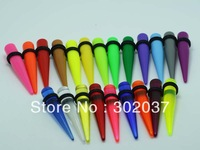 free shipping different styles uv acrylic body piercing jewelry mixed colors and sizes ear taper kits spiral ear tapers