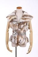 женщин природных ангорского кролика Мех Пальто куртка женское зима o шея короткие пуховики d29222