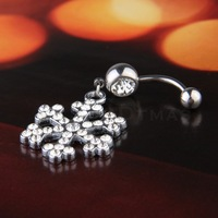 Free Shipping 316L Stainless Steel Snowflake Rhinestone Navel Belly Button Ring Bar 1pc
