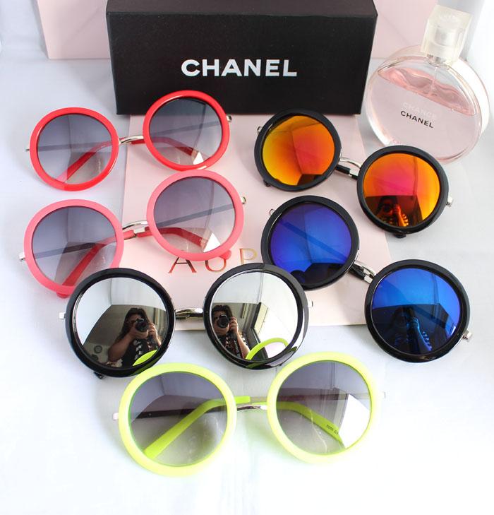 Vintage big box circle sun glasses white polarized sunglasses colorful reflective lens myopia glasses(China (Mainland))