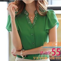 women's Chiffon shirt , 4color ,XXL,2014 new gentlewomen breasted pear l stand collar, small butterfly sleeve blouse,Plus Size