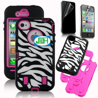 Case+screen protector Rose Pink White Zebra Combo Hard Soft High Impact cfor iphone 4 4s freeshipping