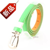 Women's neon color japanned leather strap Women tieclasps pin buckle belt metal clip decoration cowhide bottom