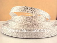kerryribbon free shipping 3/8'' silver printed ribbon Grosgrain ribbon minimum order USD 6.00