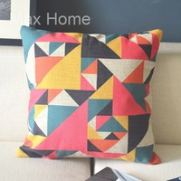 "Free Shipping 18"" Small Triangle Illusion Geometric Pattern Vintage Linen Decorative Pillow Case Pillow Cover Cushion Cover"