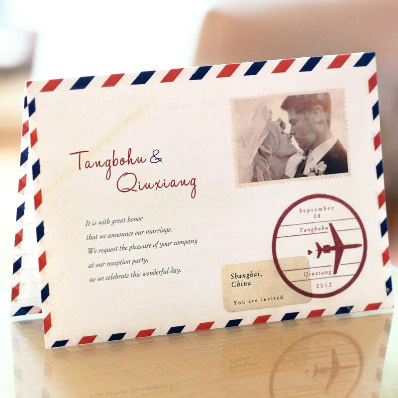 White Postcard Style Folded Photo Invitations Wedding Invitations Cards Customized Color