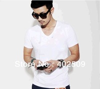 Europe style 100% cotton male short-sleeve shirts men V-Neck 3Colors optional Top sale