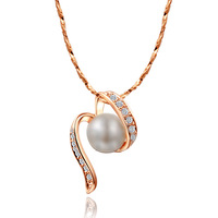 Women chain pearl elegant fashion crystal necklace lock pearl necklace