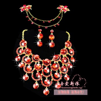 FREE SHIPPING nobe red crystal bridal jewelry sets hot sell alloy rhinestone necklace+earring+hairpin
