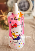 Resuable Folding Cute Hello Kitty Water bottles 30pcs/lot