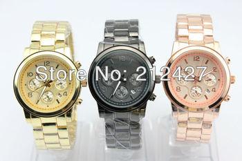 cheap version chinese quartz movement fashion metal alloy watch without any logos geneva style with celandar freeship10pcs/lot