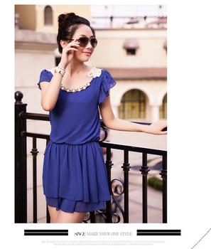 Popular Fashion Dark Blue Women's Ladies  Girls Solid  Party Evening Mini Dress. Free & Drop Shipping
