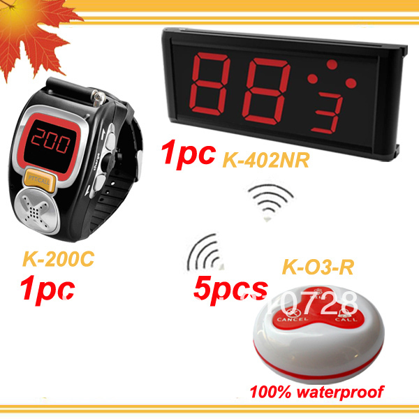 1 set Wireless Call Calling Waiter Server Paging Service System w LED Display+Watch receiver+table calling button(China (Mainland))
