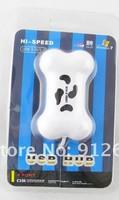 2pcs cute dog bone shaped usb hub 4 ports USB HUB Bone coloful 4port High Speed usb2.0 free shipping