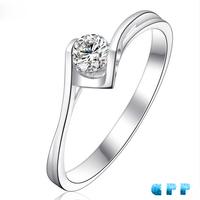 FREESHIPPING CPP 0.1 CARAT 100% NATURAL DIAMOND 18K WHITE GOLD ENGAGEMENT RING,SOLITARE DIAMOND RING