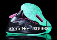 High quality Famous Player LeBron 10 X Floridians Black Pink Glow in the Dark Men's Basketball Shoes with Free Shipping
