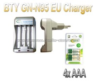 Hi-speed Quick AA AAA Rechargeable Battery BTY EU Charger N95 + 4x AAA 1350mAh 1.2V NI-MH Rechargeable Battery BTY