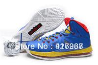 Hot Sale Famous Player LeBron 10 X Blue Red Gold Men's Basketball Shoes with Free Shipping
