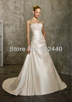Free Shipping Fashion&Simple Satin With Beading A-line Wedding Dresses Bridal Gown Custom Size Color
