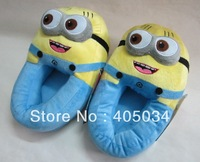 "2013 minion slippers 11"" Despicable Me movie cartoon shoes one eye, two eyes laughing plush slippers"