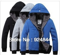 2013 new men's plush thick warm overcoat winter coat fleece & cotton padded Jacket Men jackets M,L,XL,XXL R012