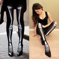 Punk Skeleton Printed Pants Pantyhose Leggings Stockings  Halloween Gift Free Shipping