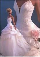W0127 fashion popular A-line V-neck Net/Tulle Handmade Flower full length white/ivory wedding bridal gown dresses
