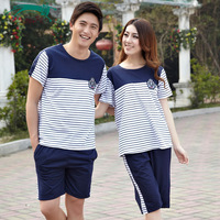 Free Shipping Cat summer short-sleeve combed cotton lovers sleep set male casual lounge