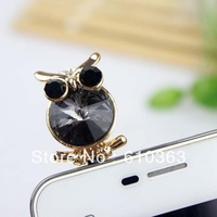 Min.order is $10 (mix order) Free Shipping LELEway high quality  3.5 mm 18K Gold Owl  hand earphone jack  dust plug accessories