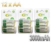 12PCS/LOT BTY AA Ni-MH Rechargeable Battery Pack 3000Mah Up To 1100 Cycle