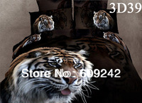 Free shipping,promotion 3d oil painting bedding sets,100% cotton tiger leopard printed 4pcs set king queen bed sheet/duvet cover