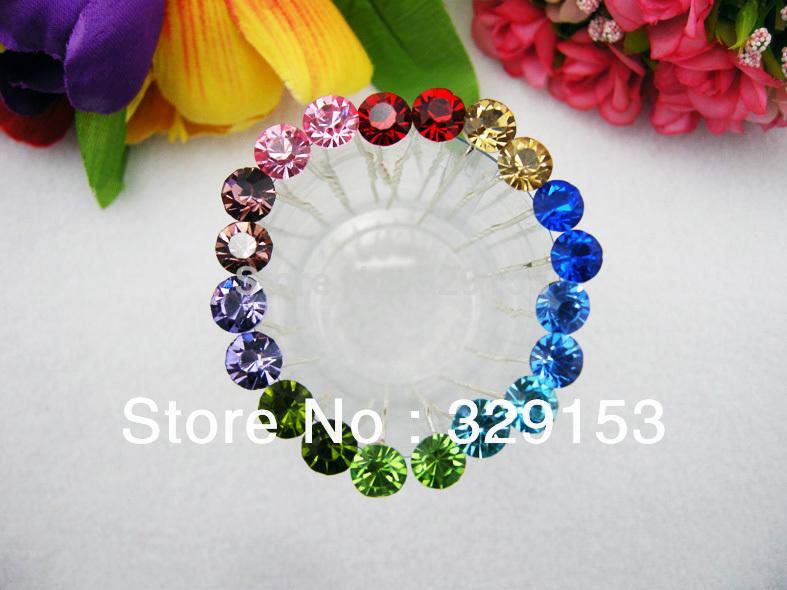 Hot sale Nice and Cheap Bridal Color Shining Crystal Hair Pin 7*0.8*0.8cm PVC Box Packing10 colors 200pcs/Lot(China (Mainland))