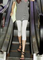 Summer cotton 100% white high waist 7 legging women's summer thin plus size shorts