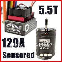 X-racing combo 120A sensored ESC C0mbo Controller 5.5T 6069KV Sensored Brushless Motor + USB Wire